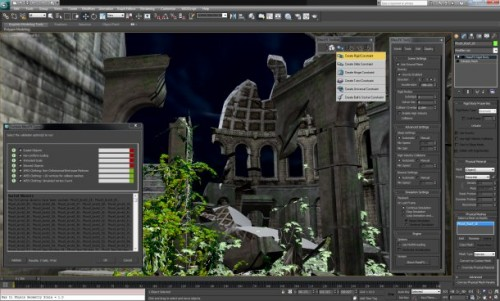 3ds Max 2012's new mRigids rigid body solver in action. Note the option for Nvidia's APEX clothing (lower right dialog box).