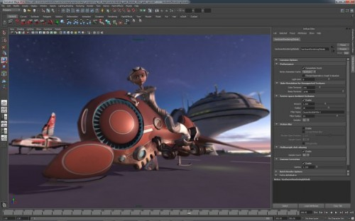 Maya 2012's updated Viewport 2.0 display supports interactive depth of field and multisample antialiasing.