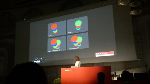 Weta CTO Sebastian Sylwan demonstrates deep compositing technology at fmx 2011. Bottom left of slide: incorrect overlap of scene objects. Bottom right: corrected with deep compositing.