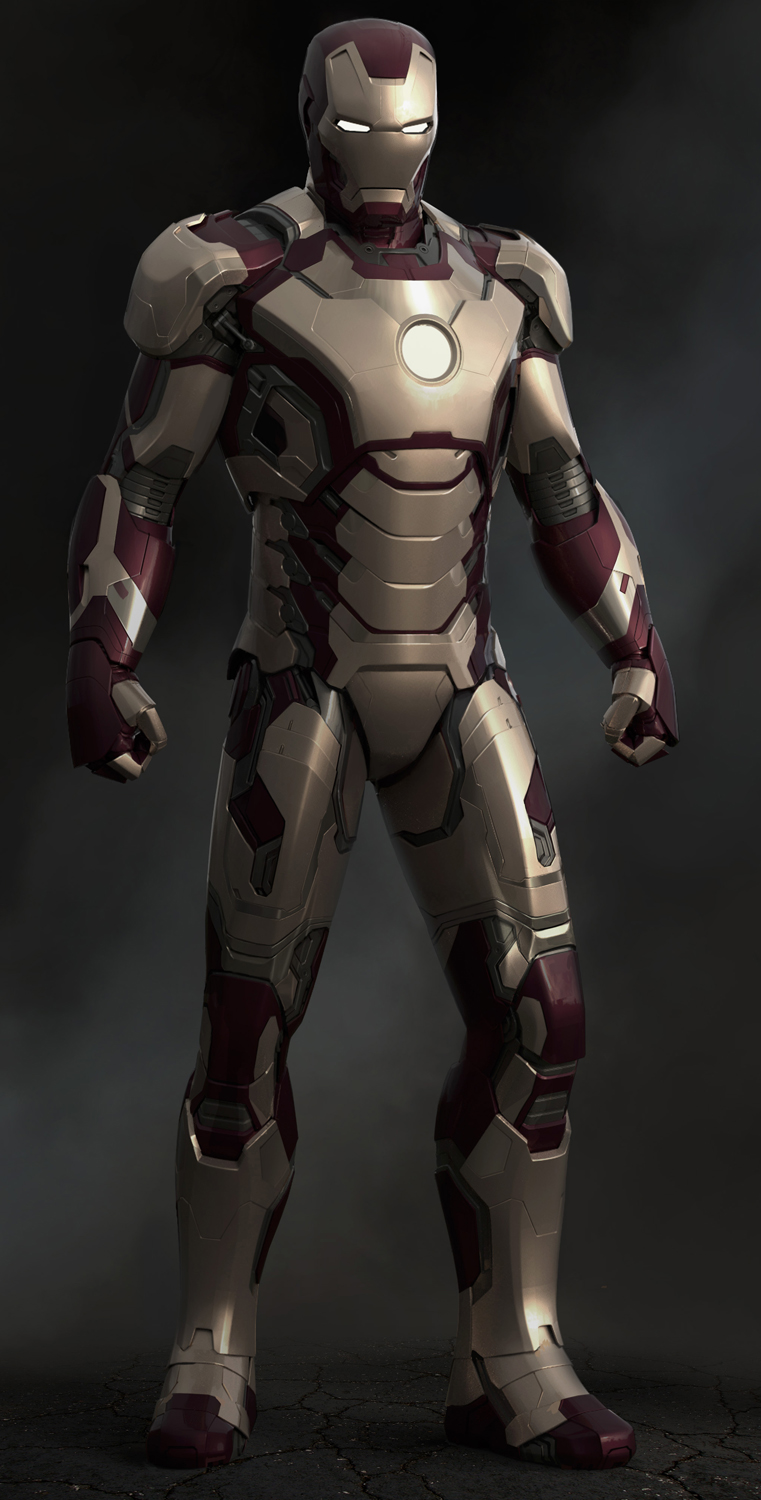 This image shows a CGI rendering of one of the various suits of Iron Man 3, the Mk. 42.