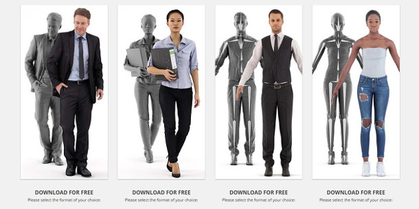 get four free renderpeople rigged 3d characters cg channel