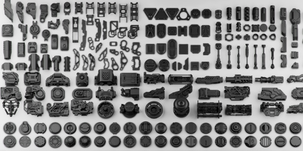 Download over 150 free hard surface kitbash model parts | CG